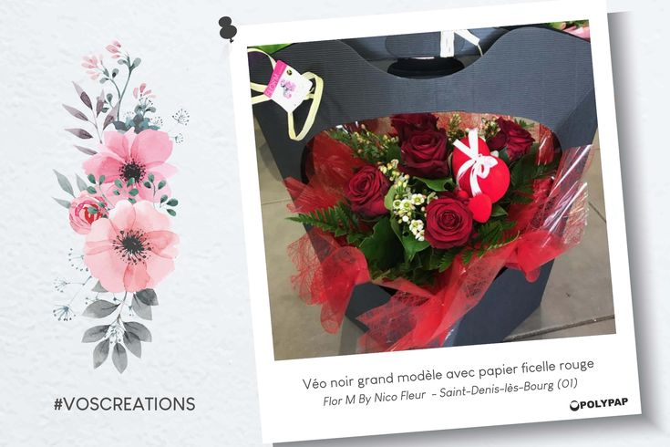 St Valentin - Composition piquée roses rouges dans Véo noir grand modèle