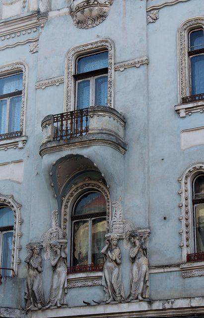 Pastel Blue Building - Bulevardul Eroilor - Cluj-Napoca, Jud. Cluj, Romania by Wayne W G on Flickr.