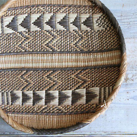 Vintage Southwestern Basket / Wall Hanging, Navajo, Woven, Chevron.