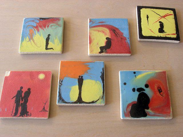 Coasters with slip and glaze.