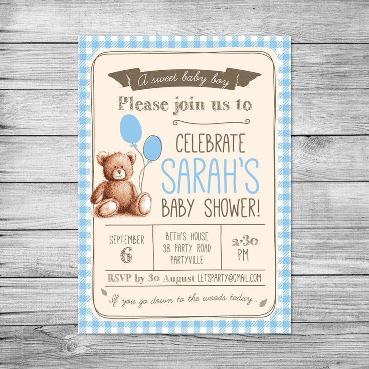 Baby Shower Invitation // Gingham Teddy Bears Picnic // Baby boy // DIY printable file // Boy baby shower invites // Shabby chic by PixelpopShop on Etsy