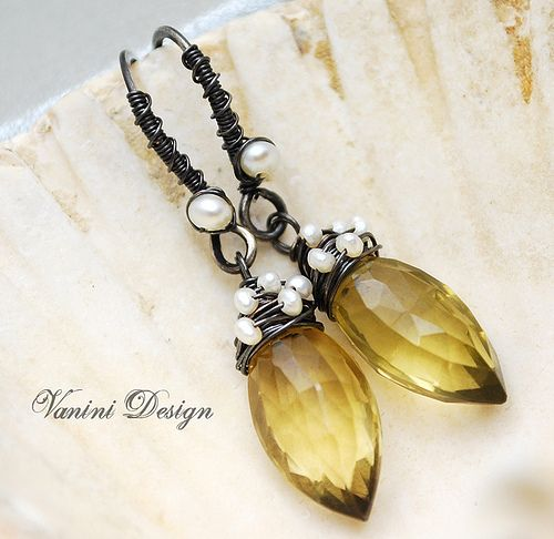 The Small Pearls Add Interest To The Oxidized Silver Wire Wrapping.