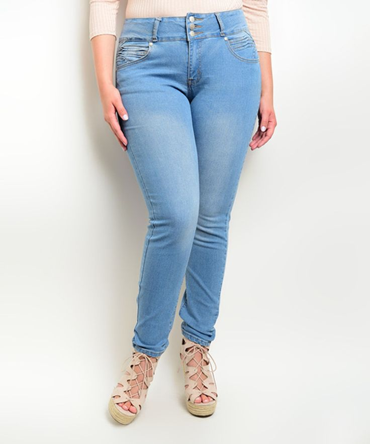 Another great find on #zulily! Light Blue High-Waist Jeans - Plus by Curvy Lily #zulilyfinds