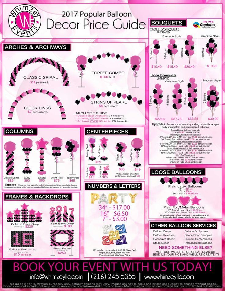 Balloon Decor | Price Guide | Party | Cleveland Ohio | Bar/Bat Mitzvah | www.whimzeyllc.com #diypartydecorationsballoons