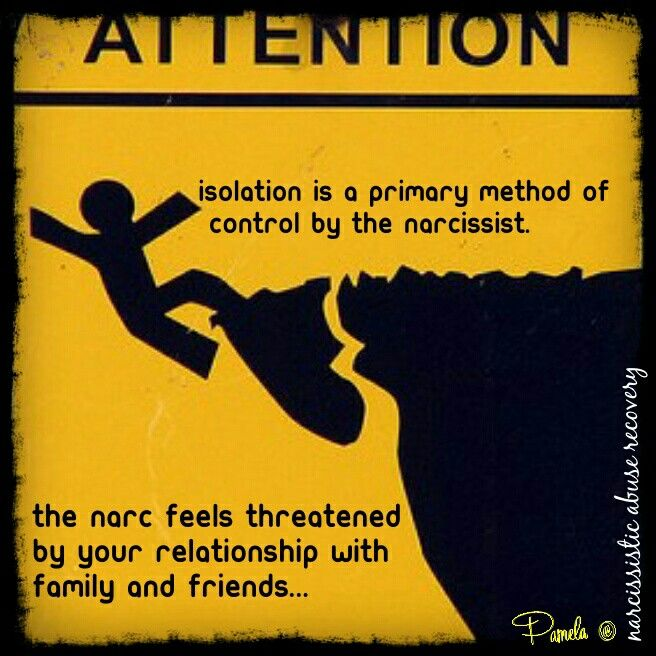 "Isolation is a primary method of control by the narcissist. By keeping you away from others, it is less likely that their true self will be revealed. They will only ""allow"" you to interact with your friends or family that they've been able to keep their ""true identity"" from being revealed."
