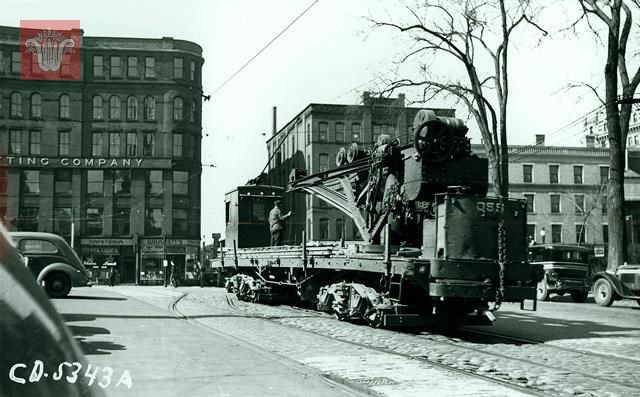 Crane Car near Salem Square and Franklin Street, April 16, 1937, Worcester Massachusetts. Photograph from the Department of Public Works Collection at Worcester Historical Museum. Want a copy of this photo? >Visit our rights and reproductions page...