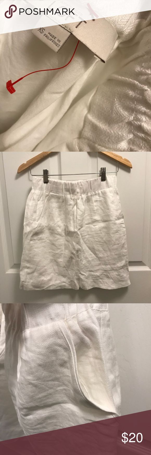 Linen white Anne Taylor LOFT mini skirt Linen white Anne Taylor LOFT skirt I'm 5'3, skirts sits right above knee length Elastic waist  Thick cotton lining for security and no see through when wearing LOFT Skirts