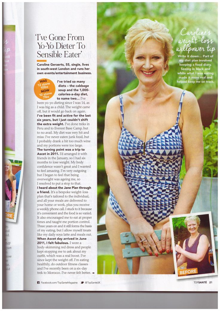 Caroline looked fabulous in Top Sante, talking about losing weight the Jane Plan way!