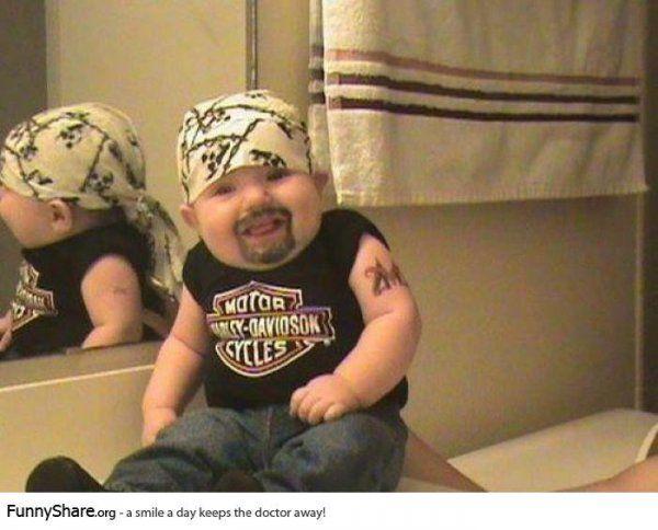 funny gangster baby photo #harley #bike