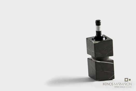 Wine cooler made out of Pietra Grey Marble, designed by Spiros Soulis for Iktinos Marmaron.