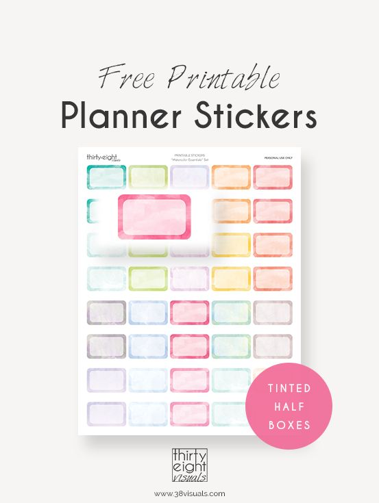 "Free Printable Planner Stickers: ""Watercolor Essentials"" 