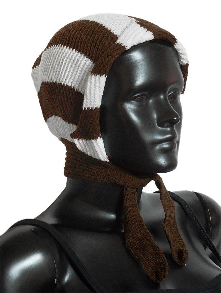 White with Brown Ladies Woolen Scarf Cap (Woolen)