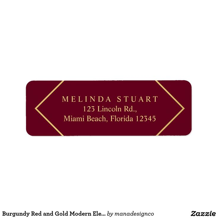 Burgundy Red and Gold Modern Elegant Geometric Return Address Label. Perfect for a makeup artist, designer, fashion stylist, consultant, lawyer, realtor and many other professionals.