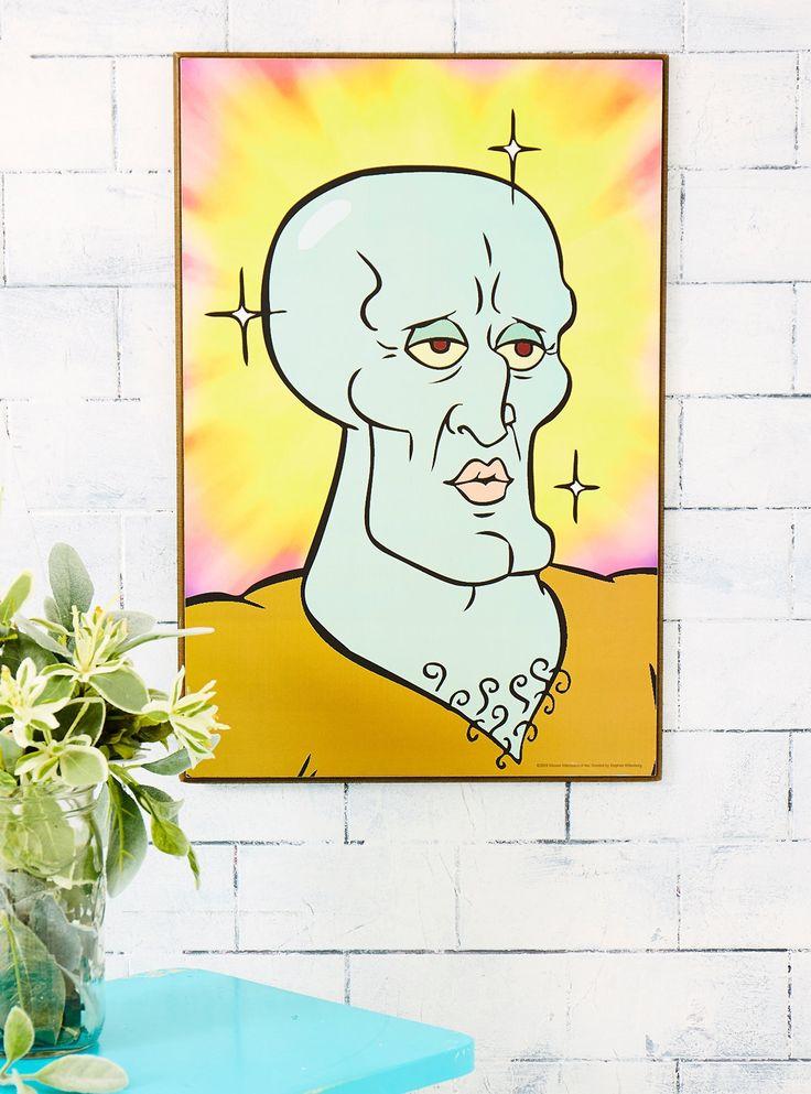 Cute Wallpaper Prints Spongebob Squarepants Handsome Squidward Wood Wall Art In