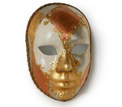 Volto oro e arancione - Maschera realizzata interamente a mano in cartapesta. Finemente decorata con stucco e colori acrili.