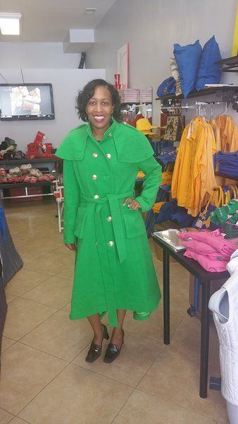 Alpha Kappa Alpha Green Wool Coat