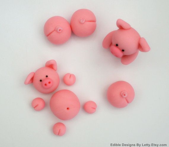 Pigs Cake Topper - Edible fondant pigs for swimming pigs in Kit Kat barrel cake