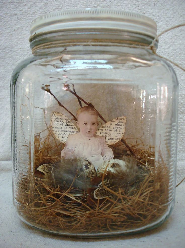 Nest Baby in a Jar...looks like an easy idea...vintage photo reprint, old book pages, mason jar, twigs and feathers...love this look