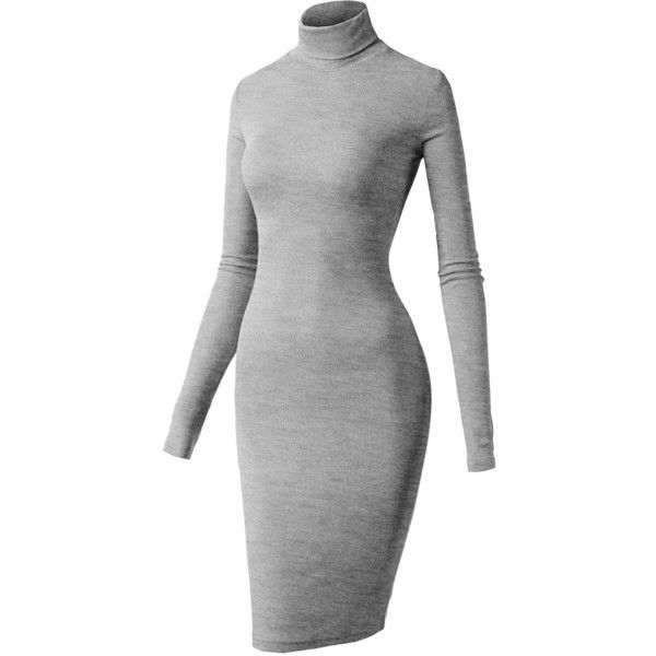H2H Women's Long Sleeve Slim Fit Turtleneck Bodycon Knitted Short... ($25) ❤ liked on Polyvore featuring dresses, grey long sleeve dress, grey dress, grey bodycon dress, long-sleeve turtleneck dresses and short bodycon dresses