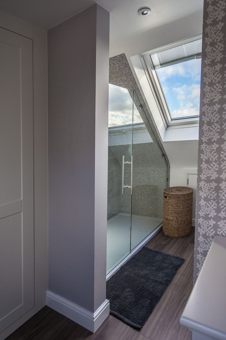 Attic bathroom with skylight