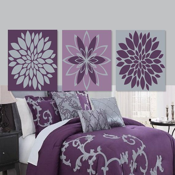 Items Similar To Teal Purple Abstract Flowers Wall Decor: 17 Best Ideas About Grey Bedroom Decor On Pinterest