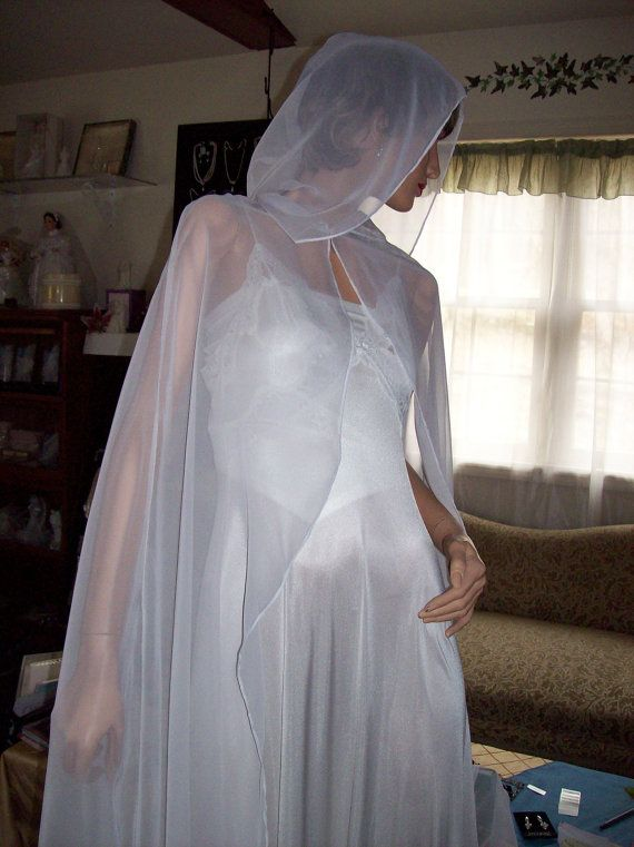Wedding chiffon hooded sheer cape ivory or white bridal ...
