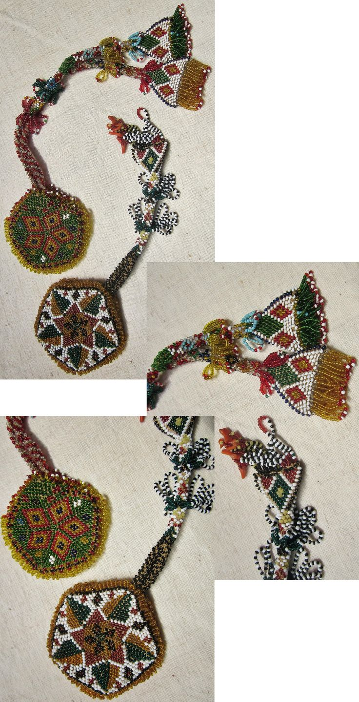 Two 'saat kesesi' (pocket watch holder). Rural beadwork, for men, mid-20th century. From the Afyon-Konya region. (Inv.nr. bon008&009 - Kavak Costume Collection-Antwerpen/Belgium).