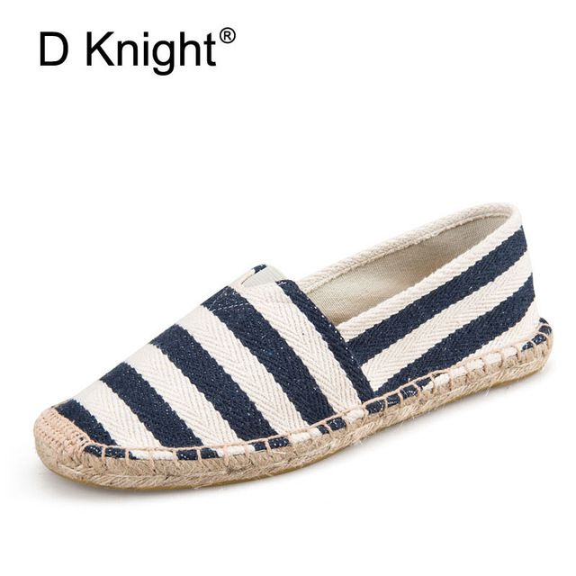 Check current price New 2017 Stripe Canvas Espadrilles For Women Fashion Slip-on Casual Unisex Espadrilles Women Casual Flat Shoes Plus Size 35-45 just only $18.64 with free shipping worldwide  #womenshoes Plese click on picture to see our special price for you