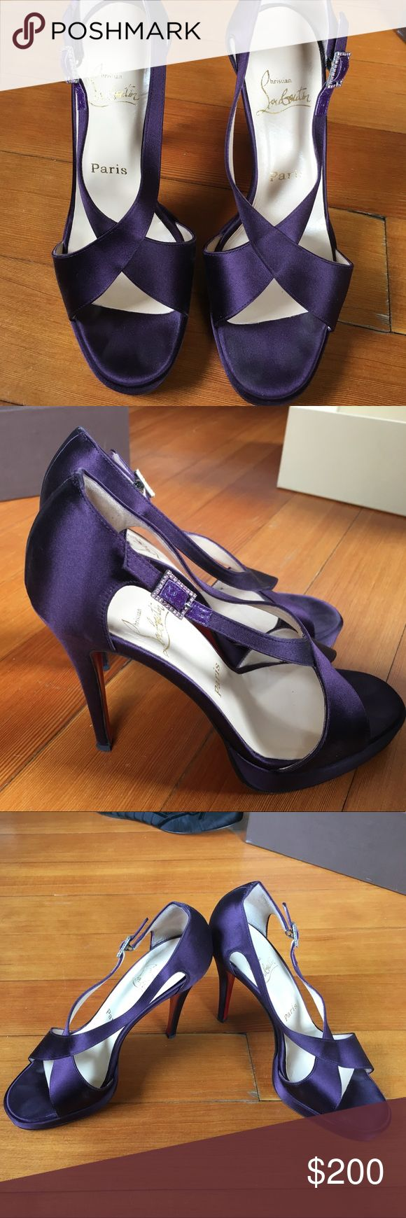 Christian Louboutin purple silk strappy heels Christian Louboutin purple strappy high heel sandals with slight platform. Size 38 1/2 worn rarely. Christian Louboutin Shoes Heels