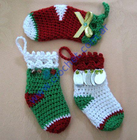 media navidad en tejido crochet