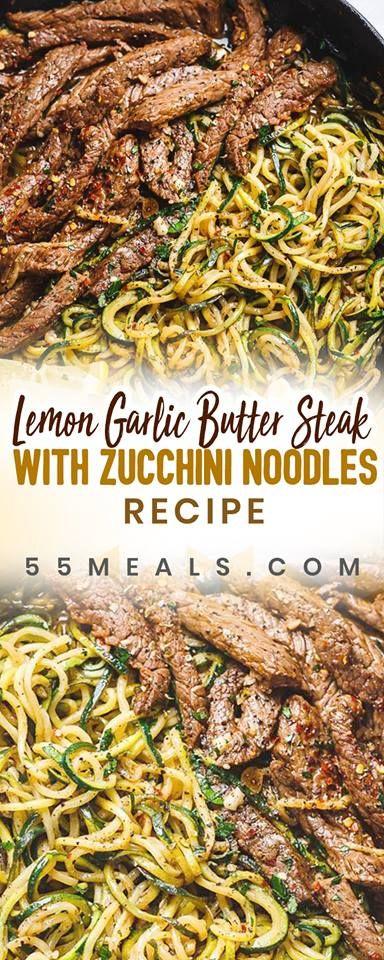 Lemon Garlic Butter Steak with Zucchini Noodles Recipe