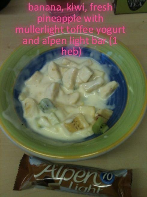 Fresh fruit and yogurt and alpen light bar