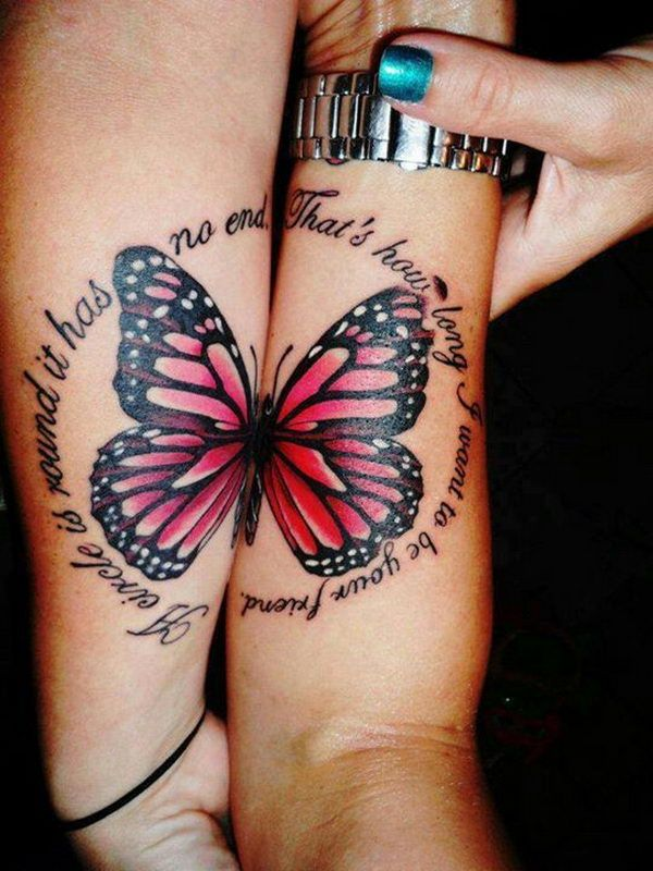 Matching Butterfly on Forearm - 40  Creative Best Friend Tattoos, #butterfly #matching tattoo #follow for follow