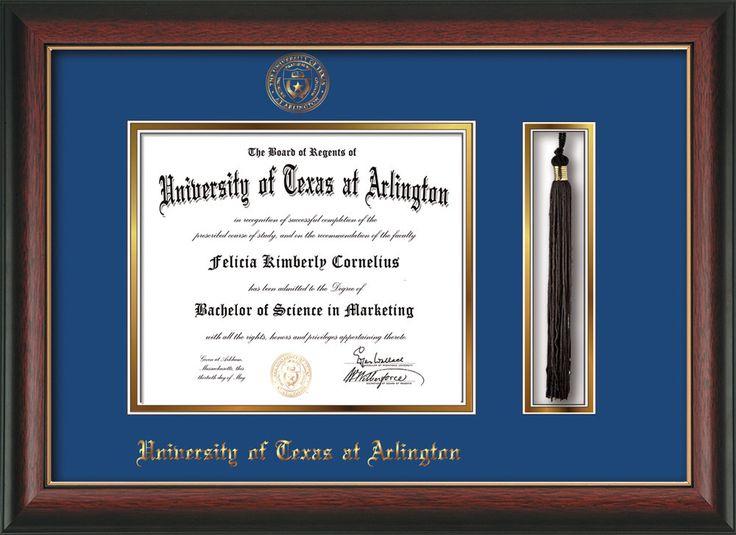 University Of Texas Arlington Diploma Frame Rosewood W