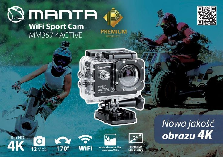 Kamera sportowa klasy PREMIUM - Manta 4K WiFi 4ACTIVE MM357 - to najnowszy i zarazem najwyższy model niezwykle popularnej serii kamer firmy Manta.