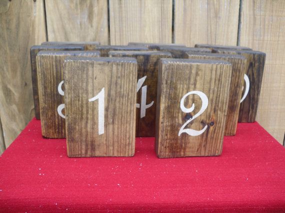 Wooden rustic table numbers for weddings by CiderHouseMill on Etsy,