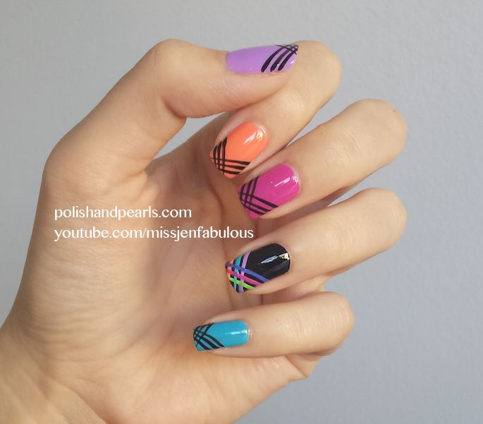 neon + black #essie #essieneon Tutorial here: http://youtu.be/VmFvcxZu9B8