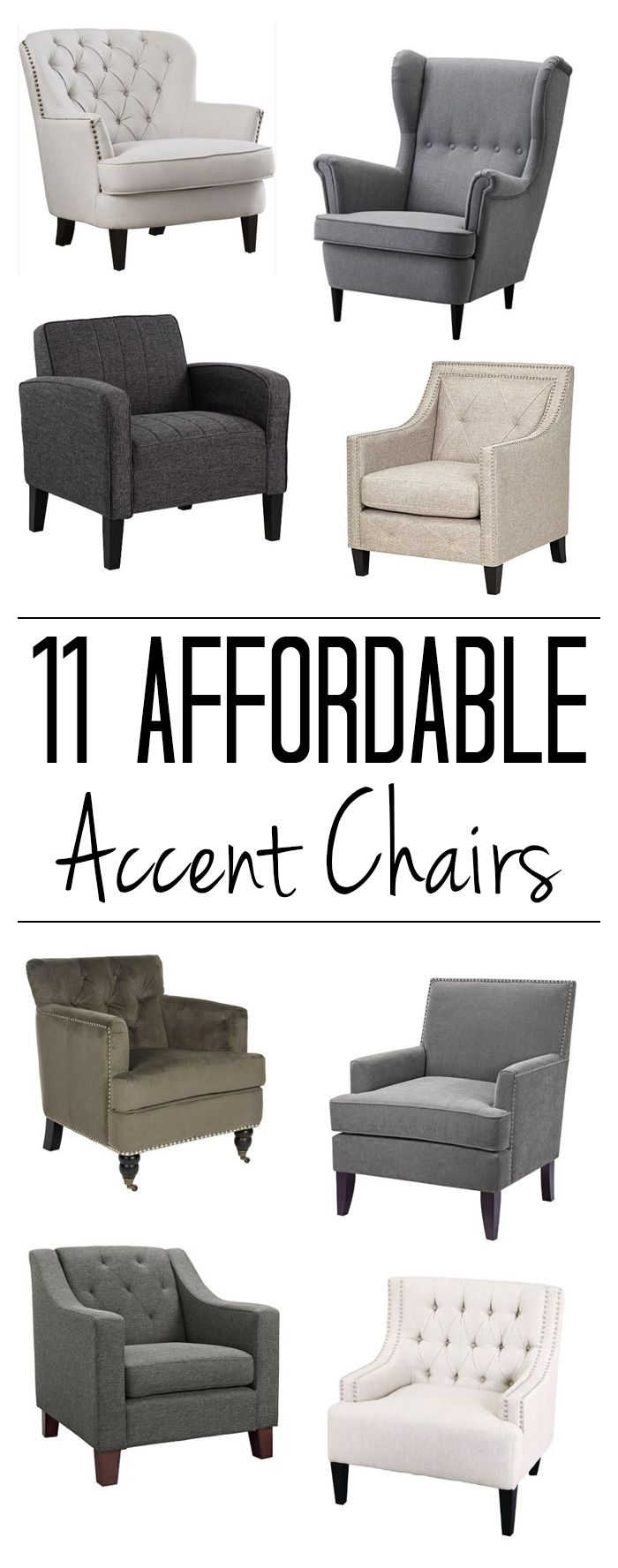 Click for sources to 11 cheap accent chairs, including the 8 shown here! I can't believe the prices on some of them!