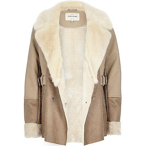 Light brown faux suede faux fur coat