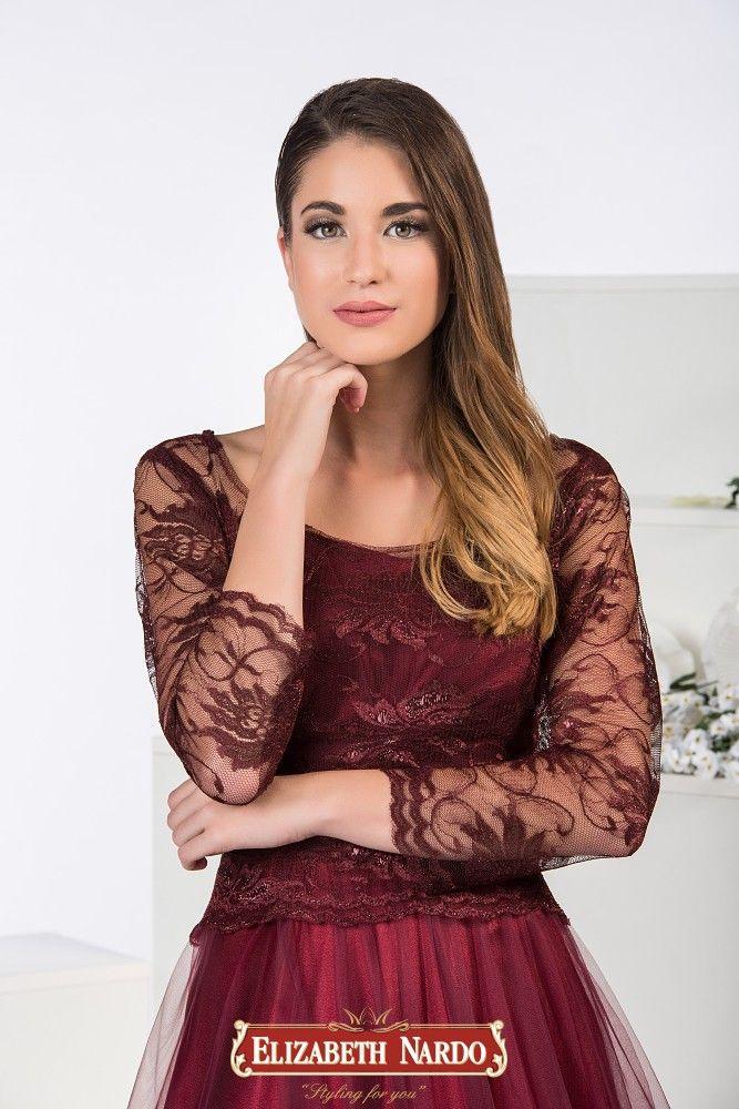 19-322 Tüll-csipke abroncsos bordó színű ruha  e0c6298fc9