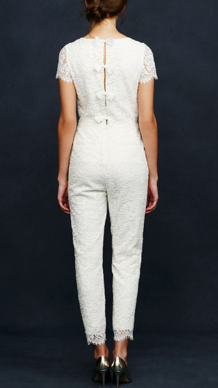 J Crew Eyelash Lace Jumpsuit Used Wedding Dress on Sale 42% Off