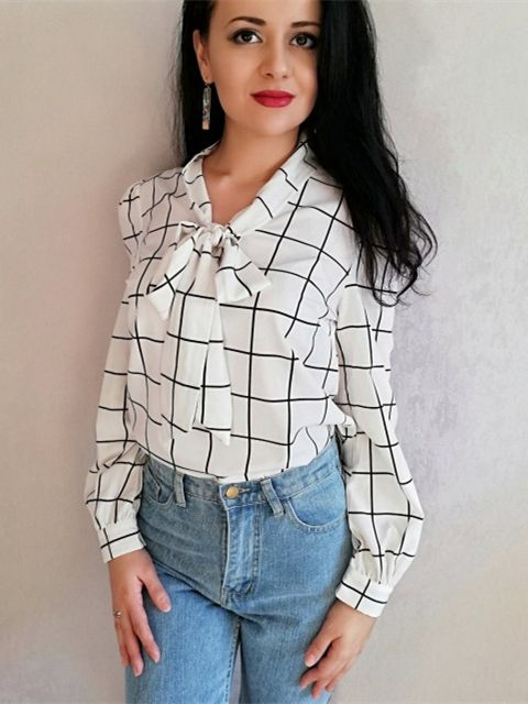 5427f6007cadfc SHEIN White Modern Lady Workwear Lace Shawl Collar Tie Neck Grid Plaid Long  Sleeve Blouse