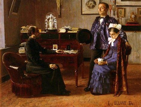 Jean-Eugène Buland, La Visite lendemain de noces (The Visit Following the Wedding), 1884 on ArtStack #jean-eugene-buland #art