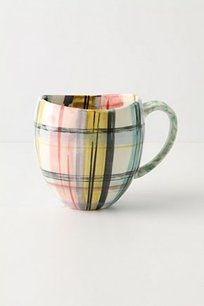 I love fun coffee mugs to drink from - love the painted plaid