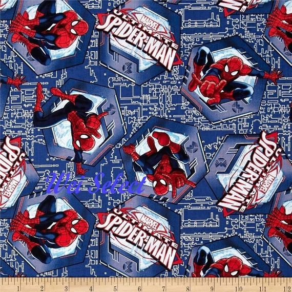 Select Your Size or By The Yard 100/% Cotton Fabric Cotton Fabric Spider Man Face Toss with Web on Blue Quilt Cotton