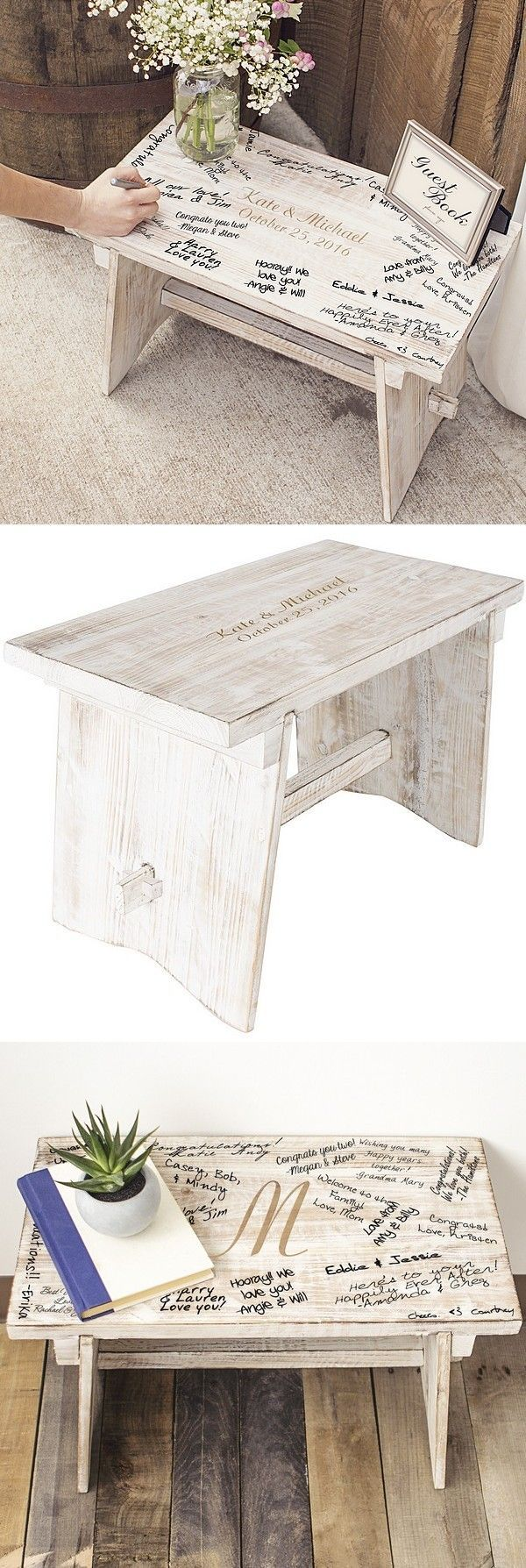 A unique alternative to the traditional guest book, a decorative signature bench personalized with the bride and groom's name and wedding date will add dimension and a visual focal point to your wedding reception receiving table. Create a sign encouraging guests to sign the bench creating a lifelong wedding day keepsake to use as an end table or plant stand in the home. This rustic bench can be ordered at http://myweddingreceptionideas.com/personalized-rustic-white-wood-guest-book-bench.asp