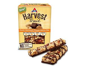 Harvest Trail Dark Chocolate Peanut Butter Bar - Atkins Harvest Trail bars take snacking to a whole new level.  By using simple and nutritious ingredients, Atkins gives you the goodness of protein and fiber while keeping net carbs and sugars in check.  Don't let sugar and carb-filled snacks derail you.  Enjoy our blend of roasted peanuts and almonds, along with the rich taste of dark chocolate, and stay on track.