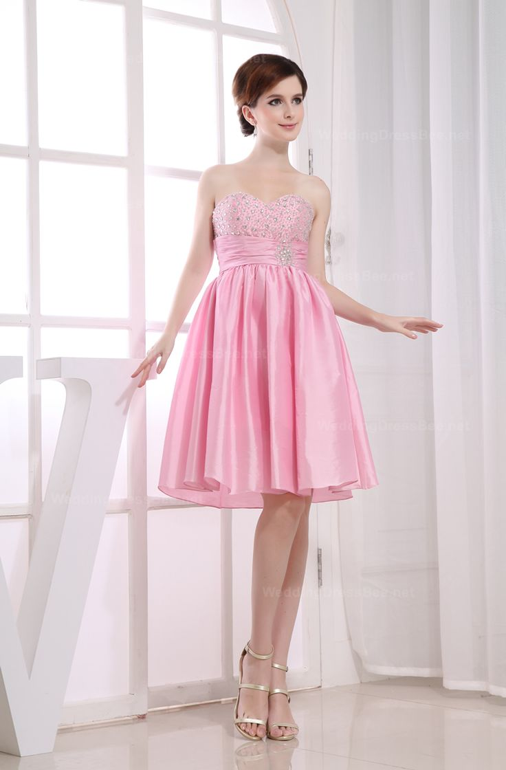 Natural waist sweetheart romantic short dress for girls