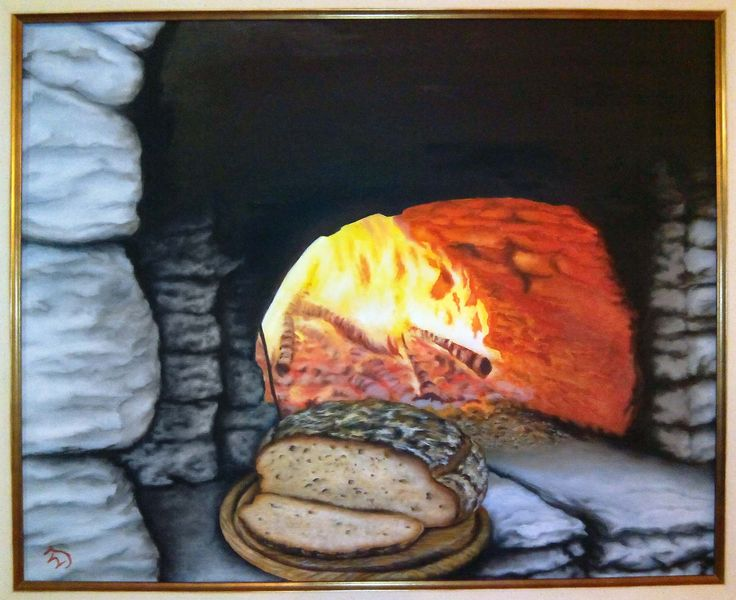 oil colors 45x45 my latest painting, it's a stone oven with fresh bread