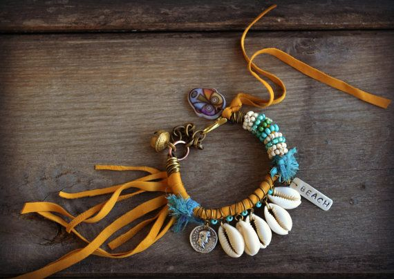 Beach bracelet, leather fringe w turquoise, Cowrie shell bracelet, Hippie, Boho, Gypsy bracelet, Summer jewelry